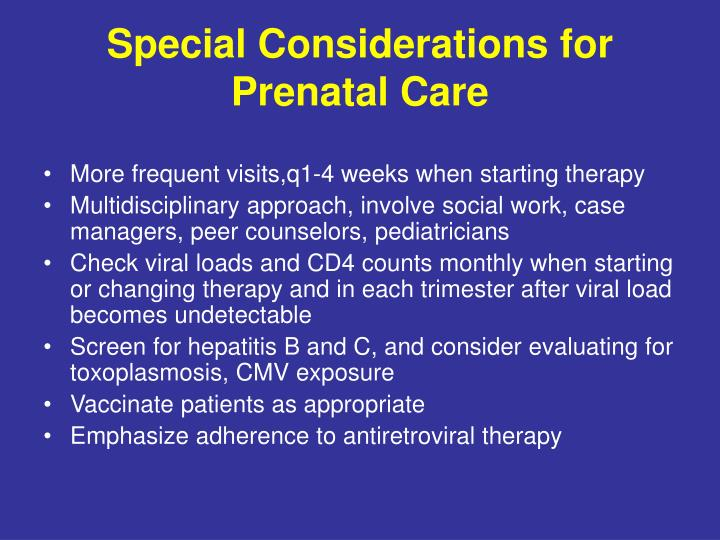 Special Considerations for Prenatal Care