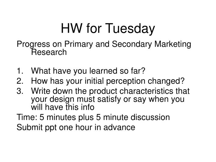 HW for Tuesday