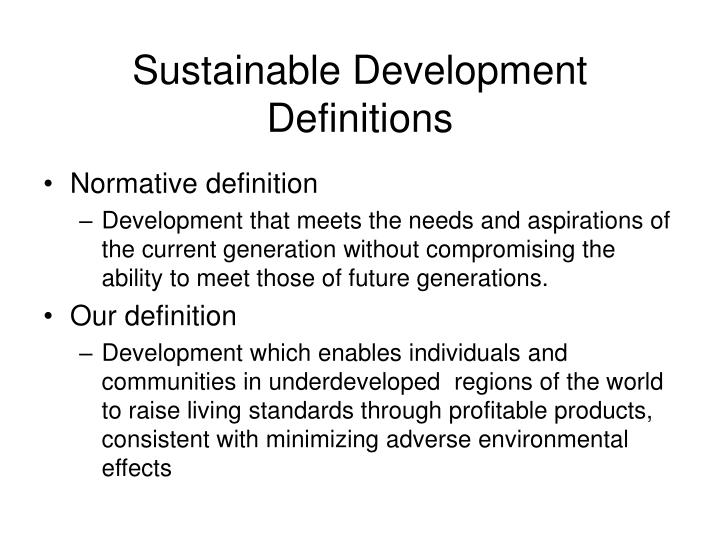 Sustainable development definitions