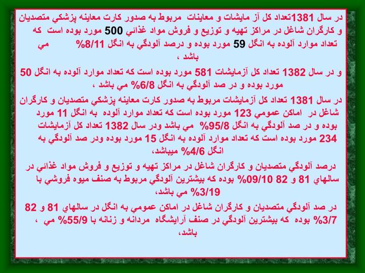 در سال 1381تعداد كل آز مايشات و معاينات  مربوط به صدور كارت معاينه پزشكي متصديان و كارگران شاغل در مراكز تهيه و توزيع و فروش مواد غذائي