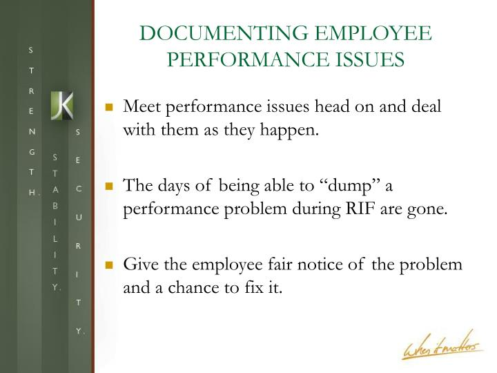 DOCUMENTING EMPLOYEE PERFORMANCE ISSUES