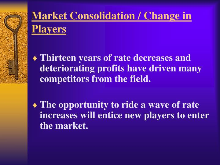 Market Consolidation / Change in Players