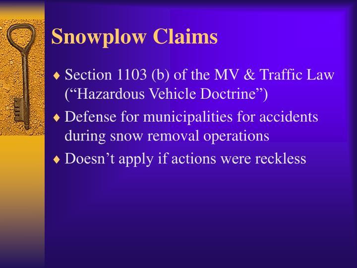Snowplow Claims