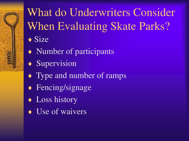 What do Underwriters Consider When Evaluating Skate Parks?