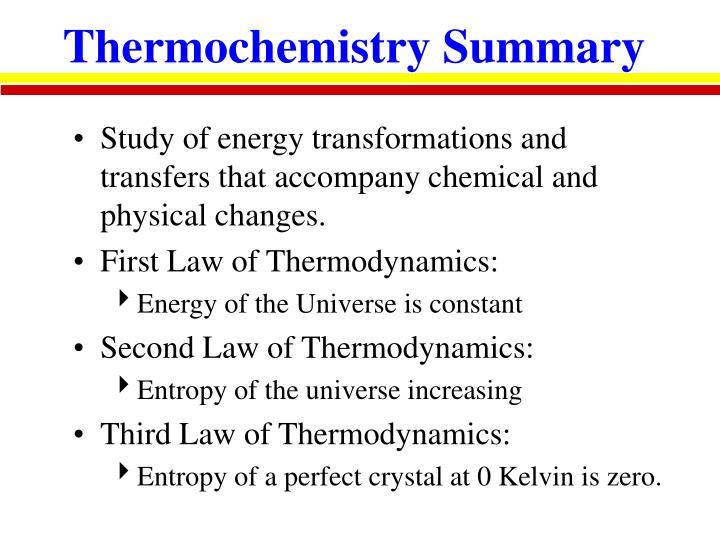 Thermochemistry Summary