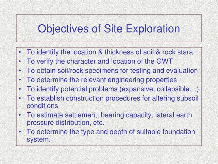 Objectives of Site Exploration