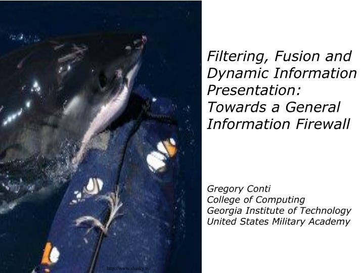 Filtering, Fusion and Dynamic Information Presentation: Towards a General Information Firewall