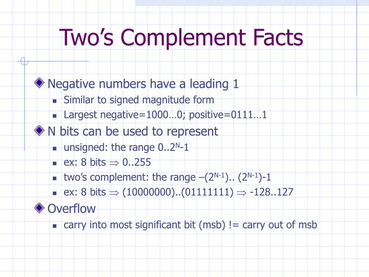 Two's Complement Facts