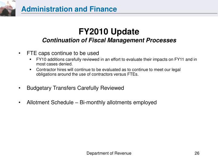 FY2010 Update