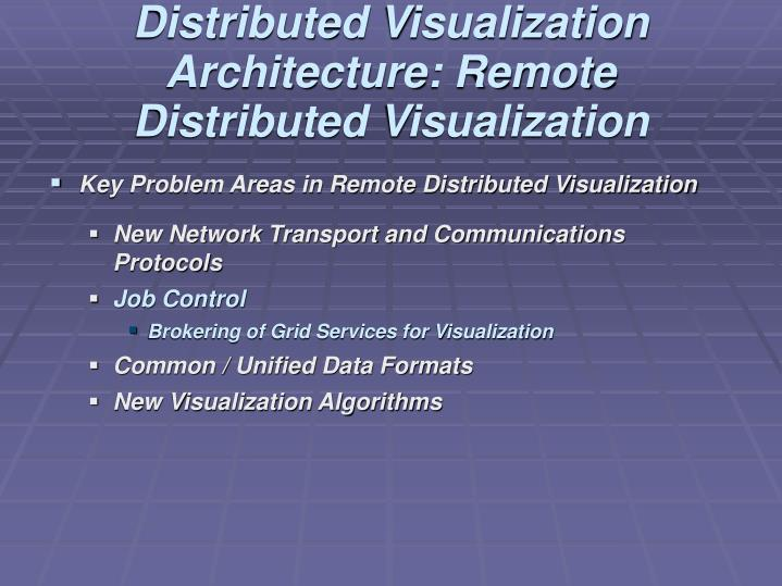 Distributed Visualization Architecture: Remote Distributed Visualization