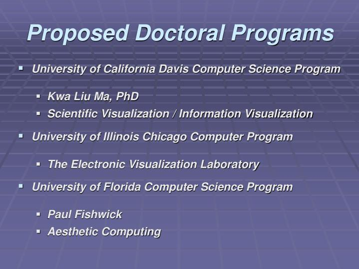 Proposed Doctoral Programs