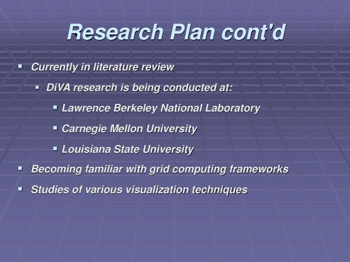Research Plan cont'd