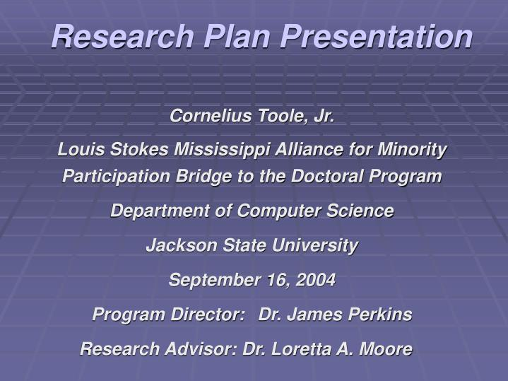 Research plan presentation