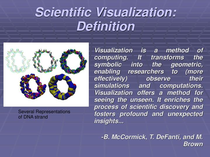 Visualization is a method of computing. It transforms the symbolic into the geometric, enabling researchers to (more effectively) observe their simulations and computations. Visualization offers a method for seeing the unseen. It enriches the process of scientific discovery and fosters profound and unexpected insights...