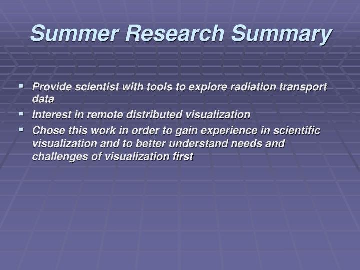 Summer Research Summary