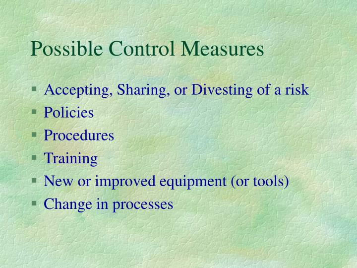 Possible Control Measures