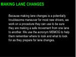 making lane changes