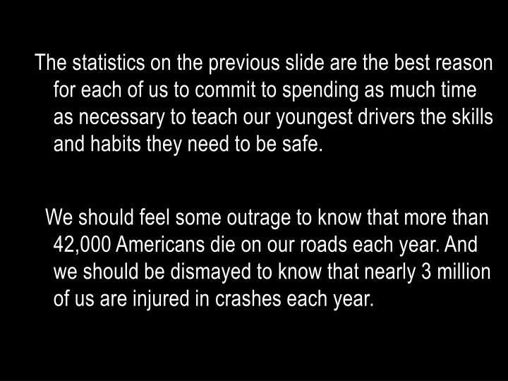 The statistics on the previous slide are the best reason for each of us to commit to spending as much time as necessary to teach our youngest drivers the skills and habits they need to be safe.