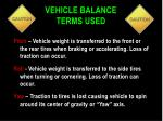 vehicle balance terms used