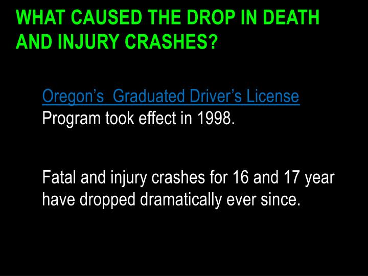 What Caused the Drop in Death and Injury Crashes?