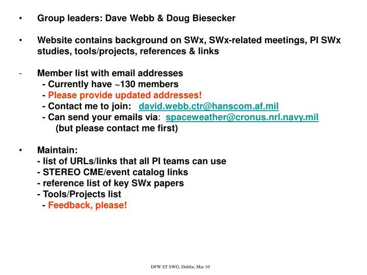 Group leaders: Dave Webb & Doug Biesecker