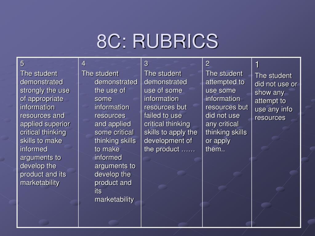 8C: RUBRICS