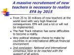 a massive recrutement of new teachers is necessary to realize efa by 2015