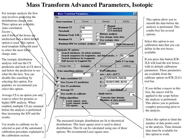 Mass Transform Advanced Parameters, Isotopic