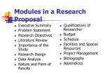 modules in a research proposal
