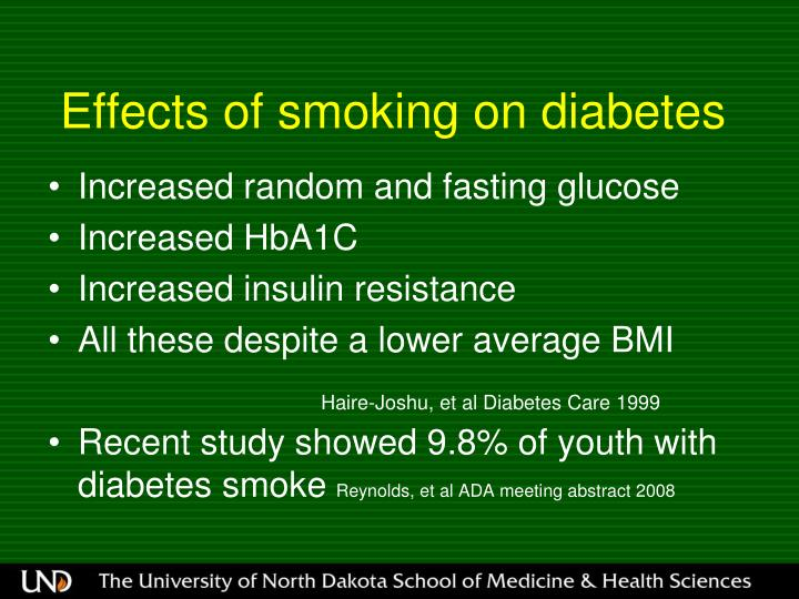 Effects of smoking on diabetes