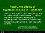 fetal child effects of maternal smoking in pregnancy