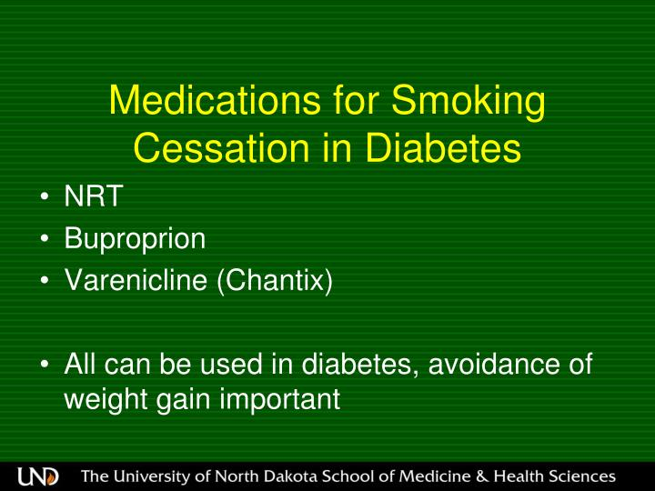 Medications for Smoking Cessation in Diabetes