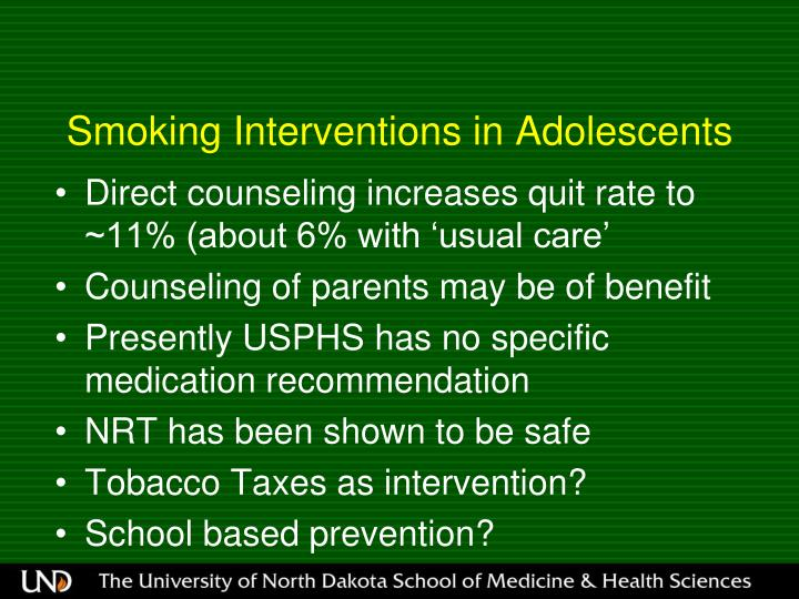 Smoking Interventions in Adolescents
