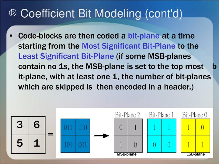 Coefficient Bit Modeling (cont'd)