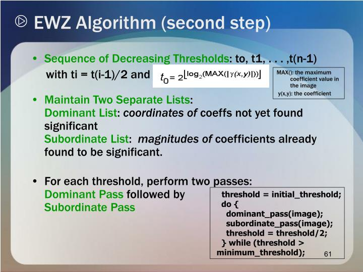 EWZ Algorithm (second step)