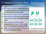 region of interest roi scaling based