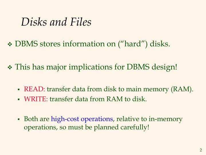 Disks and files