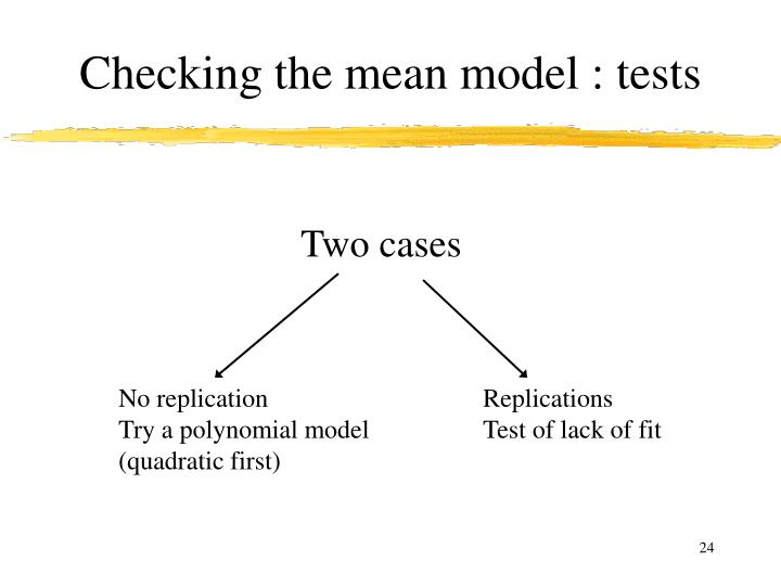 Checking the mean model : tests