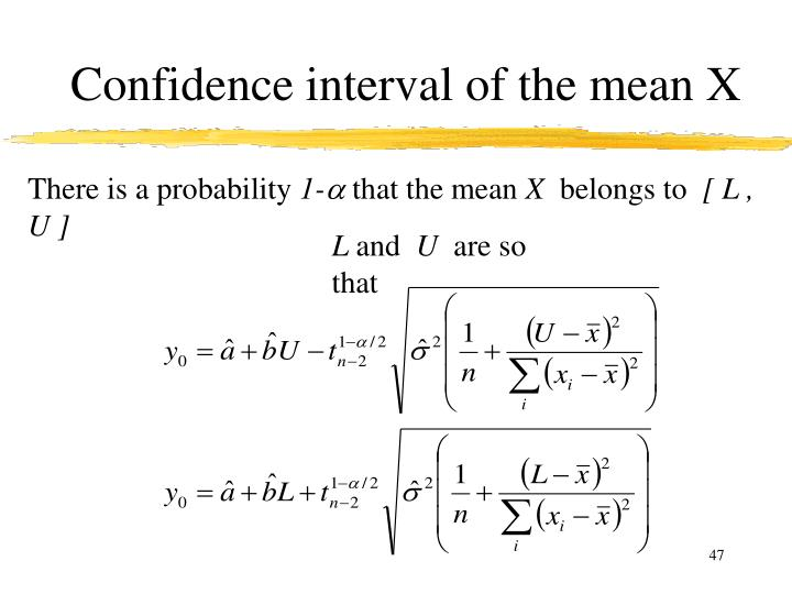 Confidence interval of the mean X