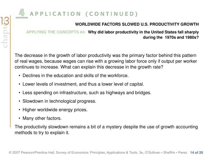 WORLDWIDE FACTORS SLOWED U.S. PRODUCTIVITY GROWTH