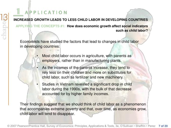 INCREASED GROWTH LEADS TO LESS CHILD LABOR IN DEVELOPING COUNTRIES