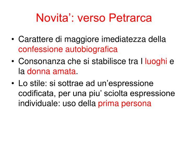 Novita': verso Petrarca