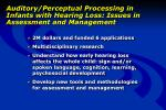 auditory perceptual processing in infants with hearing loss issues in assessment and management