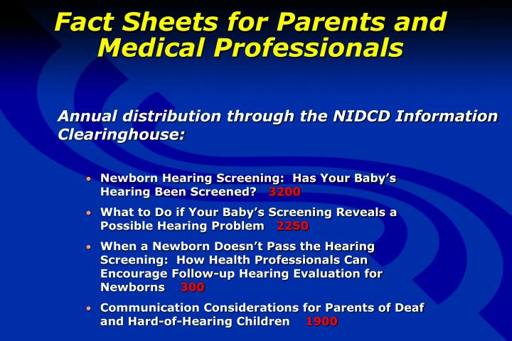 Fact Sheets for Parents and Medical Professionals