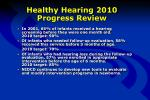 healthy hearing 2010 progress review