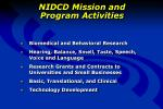 nidcd mission and program activities