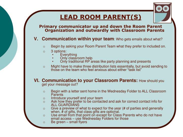 LEAD ROOM PARENT(S)