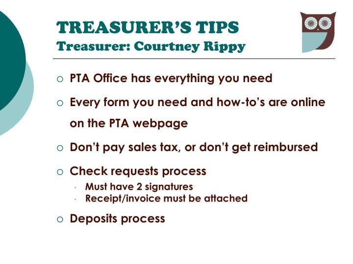 TREASURER'S TIPS