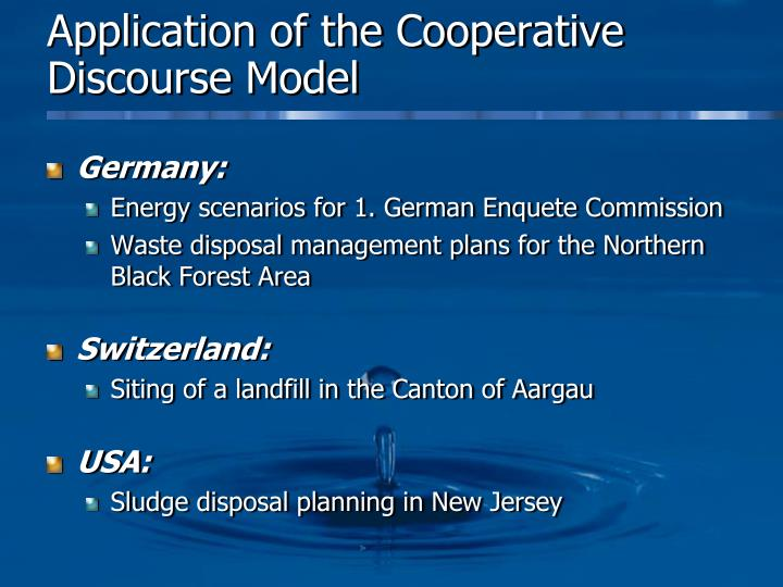 Application of the Cooperative Discourse Model