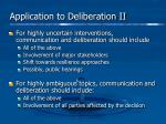 application to deliberation ii